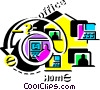 Vector Clipart picture  of a Working at Home
