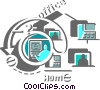 Working at Home Vector Clipart illustration