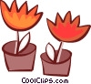 Vector Clipart image  of a Potted Plants and Flowers