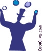Vector Clipart illustration  of a Juggling and Multitasking