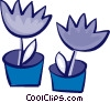 Vector Clip Art image  of a Potted Plants and Flowers