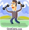 Vector Clipart graphic  of a Bodybuilding and Weight