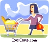 Woman grocery shopping Vector Clip Art picture