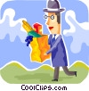 Man with bag of groceries Vector Clipart illustration