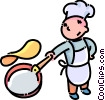 Vector Clipart graphic  of a boy flipping a pancake