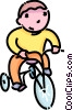 Vector Clipart picture  of a Boy riding his tricycle