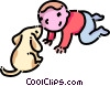 Vector Clipart graphic  of a Boy and his puppy