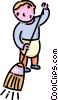 Vector Clipart image  of a boy sweeping the floor