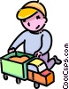 Vector Clipart illustration  of a boy playing with his toy truck