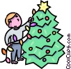 Boy stringing lights around his Christmas  tree Vector Clipart image