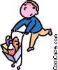 Vector Clip Art graphic  of a boy with a shopping cart
