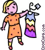 girl with a dress Vector Clipart picture
