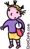 girl with a soft drink Vector Clip Art image