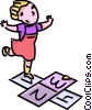 Vector Clip Art picture  of a girl playing hopscotch