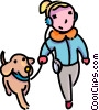 girl walking her dog and listening to her CD's Vector Clipart illustration