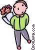 Vector Clip Art graphic  of a boy with some flowers