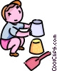 Vector Clipart image  of a boy building a sand castle