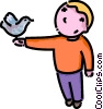 boy with a bird on his hand Vector Clip Art picture