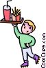 Vector Clip Art image  of a boy waiter on roller skates