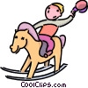 Vector Clipart picture  of a boy riding his rocking horse