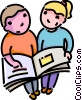 Friends reading a book Vector Clipart illustration