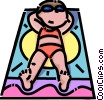 Girl sun tanning Vector Clipart graphic