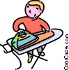 boy ironing his clothes Vector Clipart illustration