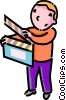 boy with a clapper board Vector Clipart graphic
