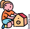 Vector Clipart illustration  of a girl building a bird house
