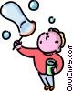 boy blowing bubbles Vector Clipart picture
