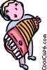Vector Clipart graphic  of a boy playing the accordion