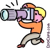 Vector Clip Art picture  of a boy taking pictures with his