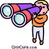 Vector Clipart image  of a boy looking through binoculars