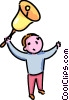 Vector Clipart picture  of a boy ringing the school bell