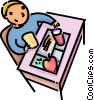 Vector Clip Art image  of a Boy eating his lunch at his desk