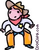 Vector Clipart illustration  of a boy dressed up like a cowboy