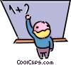 boy working a math problem on the chalkboard Vector Clipart illustration