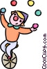 Vector Clip Art graphic  of a clown juggling on a unicycle
