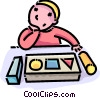 boy with a puzzle Vector Clip Art graphic