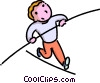 boy walking on a high wire Vector Clipart picture