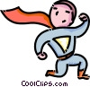 Vector Clipart graphic  of a boy dressed up like a superman