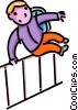 Vector Clip Art image  of a school boy jumping a fence