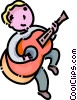 Vector Clip Art graphic  of a boy playing the guitar