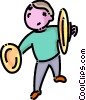 boy playing the cymbals Vector Clipart picture