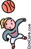 girl playing basketball Vector Clip Art picture