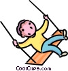 boy on a swing Vector Clip Art picture