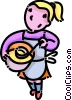 Vector Clip Art graphic  of a girl serving soup