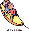 Vector Clipart graphic  of a children on a inflatable toy