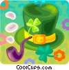 St. Patrick's day hat and a pipe Vector Clipart graphic