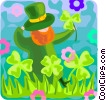 leprechaun picking shamrocks Vector Clip Art image